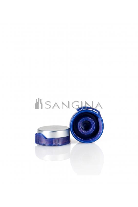 26 mm x 12 mm Aluminium med blå plaståbner