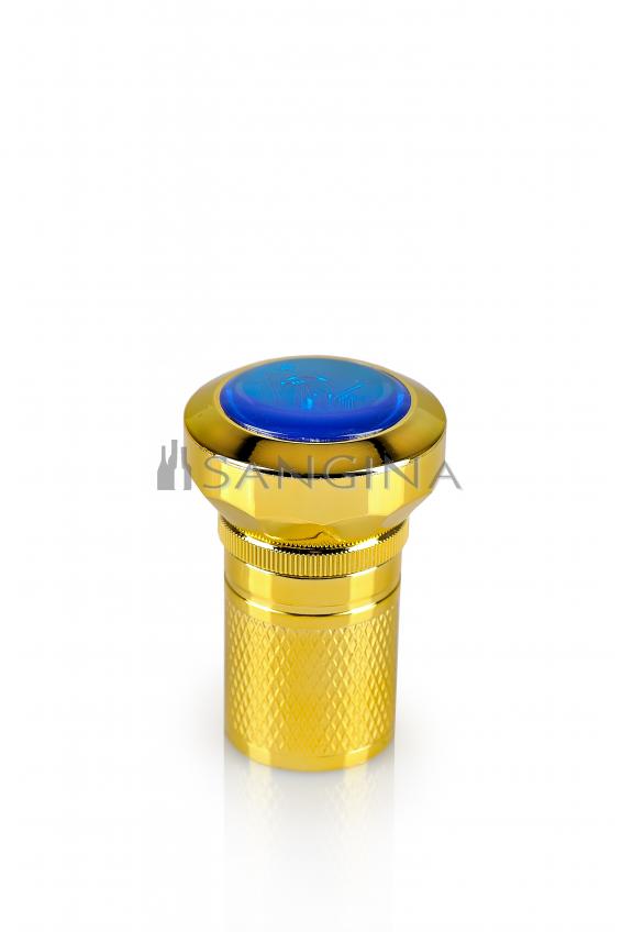 30 mm standartinio dydžio plastikiniai kamšteliai su mėlynu viršumi