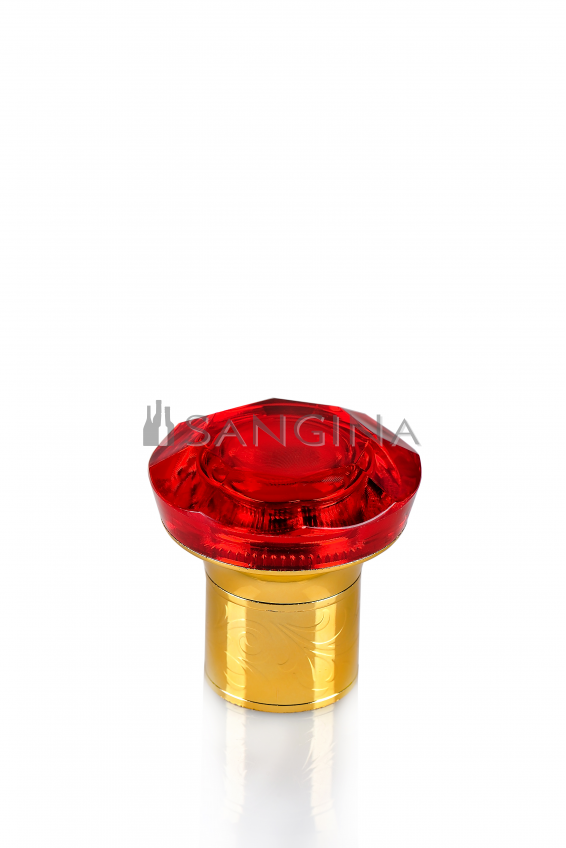 30 mm standartinio dydžio plastikiniai kamšteliai su pilnu raudonu viršumi